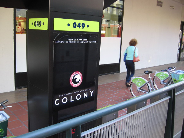 Deco Bike rental station still contains graphic from last year's San Diego Comic-Con. The television show Colony, a science fiction series on USA Network, was being heavily promoted.
