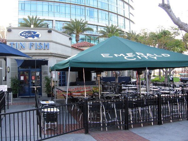 The Tin Fish near the San Diego Convention Center still features an Emerald City canopy, nine months after last year's Comic-Con.