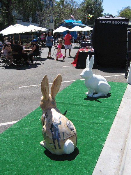 These Rabbitville rabbits were spotted today at the Jacarada Spring Thing festival on Cortez Hill. One has yet to be painted.