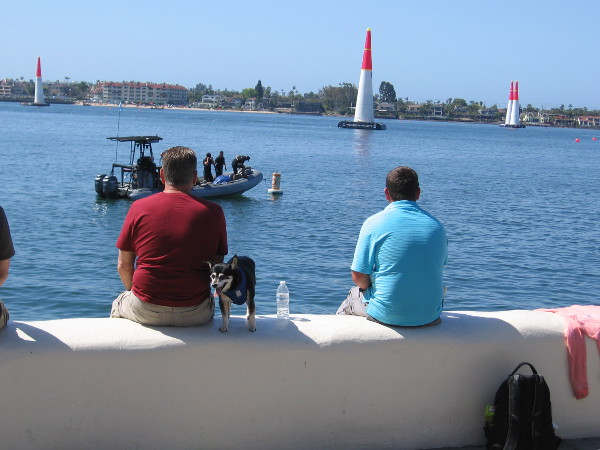 Smart people grabbed seats on the Seaport Village wall by the water before the air race began. The guys on the boat are there to rescue pilots should they crash into the water.