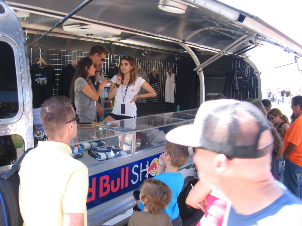 The public could purchase all sorts of Red Bull merchandise and souvenirs at a trailer by the boardwalk.