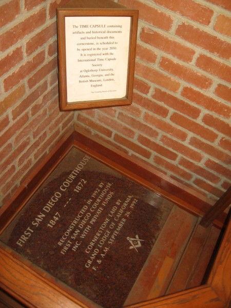 A time capsule lies in a corner of the first San Diego courthouse. It is scheduled to be opened in 2050.