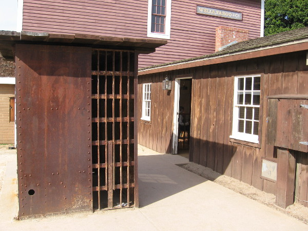 This iron jail cell was the size and construction of the original courthouse jail from 1850.