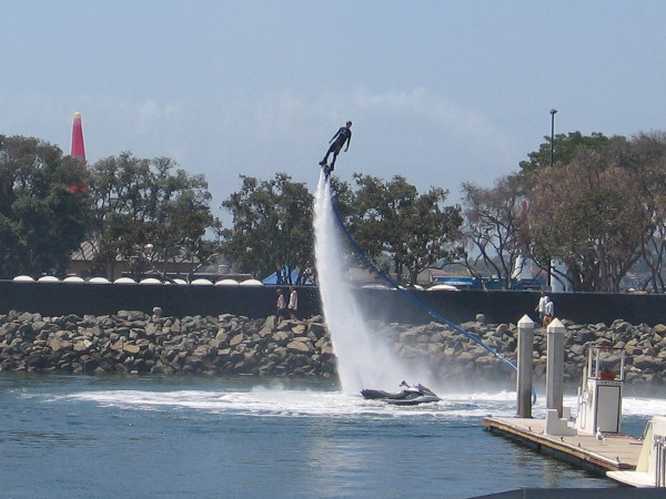 Meanwhile, this guy was testing out a water jetpack. A bunch of these daredevils entertained the crowd later, as you'll see.