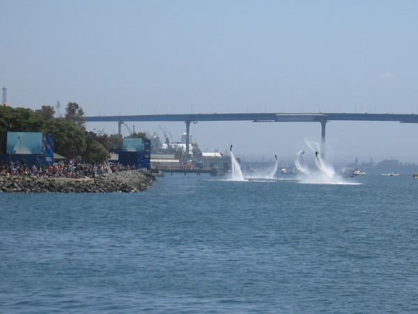 During a lull in the aerial action, which allowed ships and boats to pass through the course, the paying crowd was entertained by a bunch of water jetpack guys.
