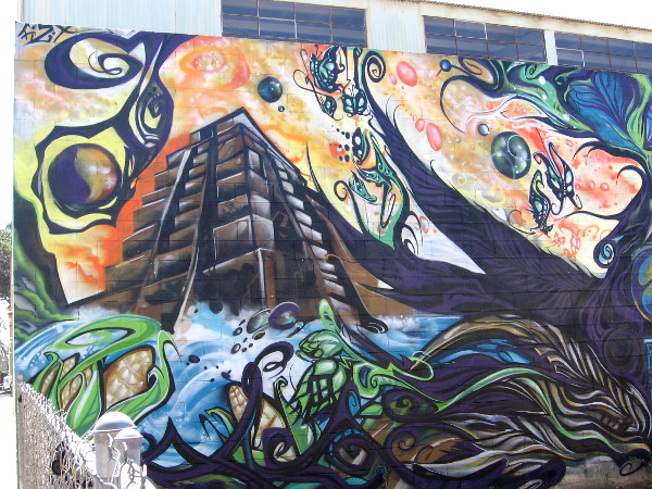 Cool graffiti in Barrio Logan includes butterflies and a Mesoamerican pyramid.