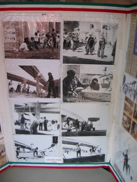 Some old photos at one booth show Chicano Park being claimed and created by activist community members in 1970.