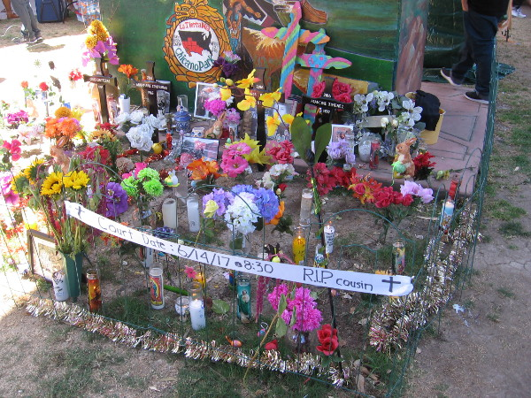 A memorial still remains in Chicano Park, where four were tragically killed last year when a driver veered off the bridge above.