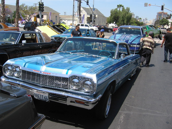 The High Class Car Club out of Los Angeles had lots of amazing lowrider vehicles on display at nearby Mercado del Barrio.