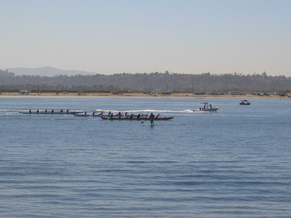 Some canoe racing between Crown Point and Fiesta Island.