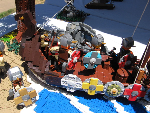 An up-close look at the LEGO ship and its Viking warriors!