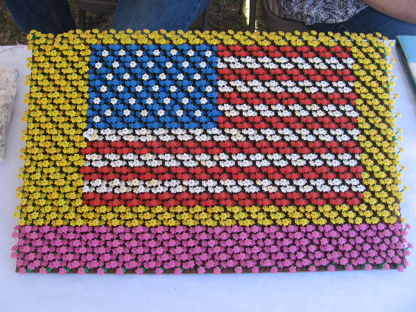 This American flag created by another skilled builder was inspired by the Carlsbad Flower Fields! It took a long time and much patience to assemble!
