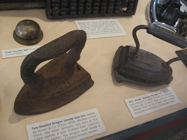 Chinese laundries in San Diego utilized irons, counter bells, an abacus, and other useful objects.