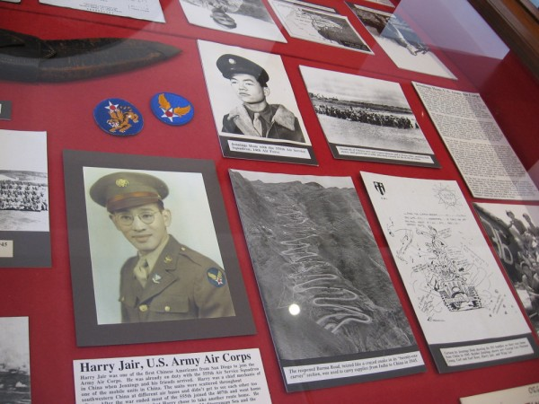 Display case contains memories of military service.