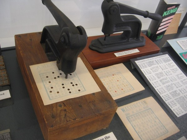 Punching devices used for the Chinese Lottery of San Diego, which was popular in the Stingaree District and Chinatown. Technically illegal, the lottery was tolerated by the authorities.