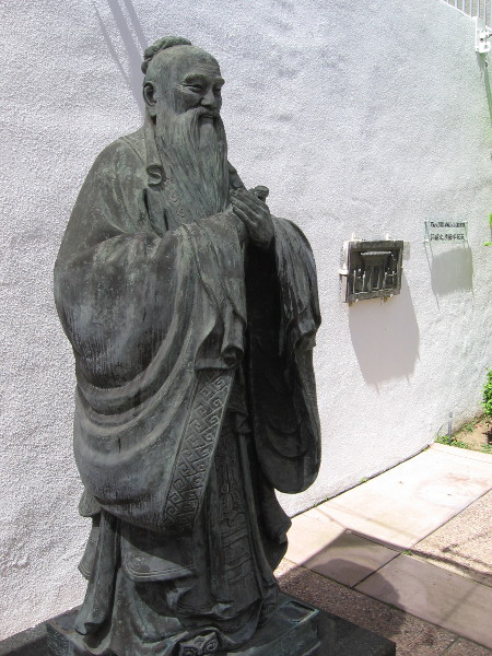 Statue of Confucius, donated by the generosity of the Ministry of Education, Taiwan, Republic of China.