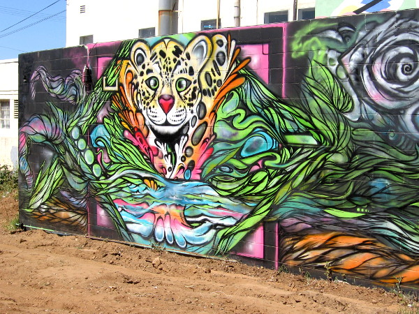 A jaguar leaps from an amazing street art mural in San Diego's Barrio Logan neighborhood.