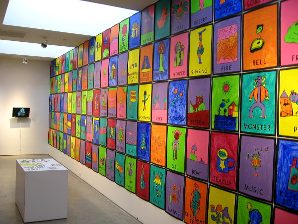 A wall inside the San Diego Art Institute features artwork by 3rd and 4th grade students at San Miguel Elementary School.