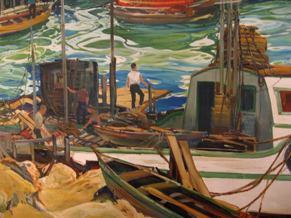 A small part of a large, dynamic painting of San Diego's working waterfront.