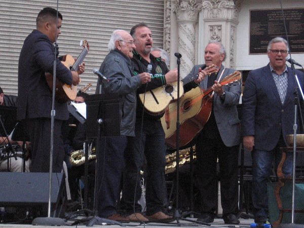 Legendary musician Oscar Amezcua performs on stage with his sons during a Cinco de Mayo concert in Balboa Park.