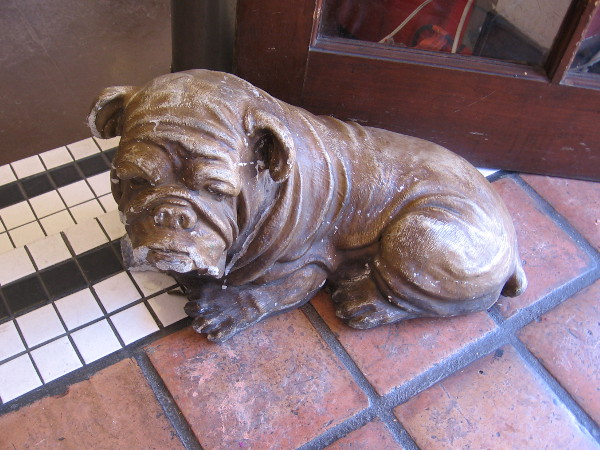 A wrinkly dog stands eternally inside the front door of Old Town's Korky's Ice Cream and Coffee.