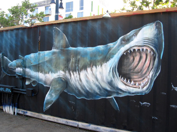 A huge shark has appeared at the Quartyard in East Village!