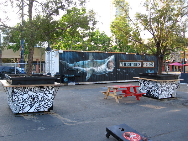 New urban artwork in the Quartyard gathering place at the corner of Park Boulevard and Market Street in San Diego.
