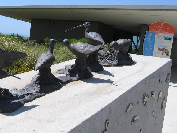 Bronze birds near entrance of the San Diego Bay National Wildlife Refuge and regional complex headquarters in Chula Vista.