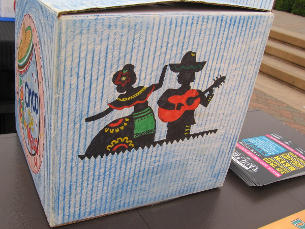 Donation box for the Kiwanis Club of San Diego, who along with the SDSU School of Music and Dance presented the special Cinco de Mayo Concert in the Park. Kiwanis has provided many scholarships for SDSU students.