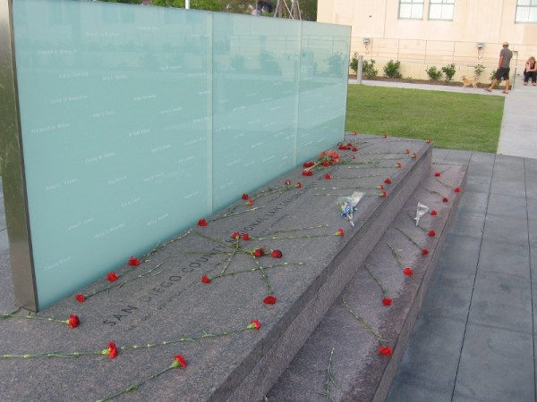 Roses for the fallen at San Diego's Regional Law Enforcement Memorial.