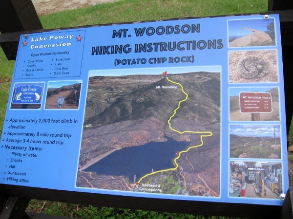 Sign near beginning of Lake Poway Trail shows how to continue on to the summit of Mt. Woodson, location of the famous Potato Chip Rock.