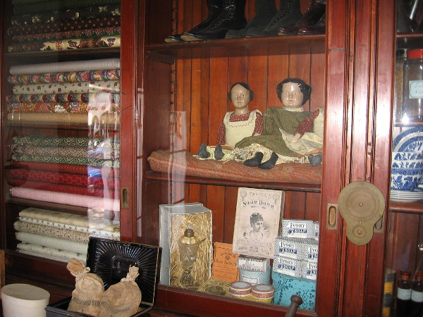 I learned a past visitor to the Whaley House photographed these old dolls and was surprised to see the eyes--which are painted--closed!