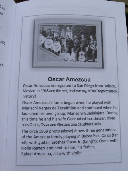 Legendary Mariachi Leader Oscar Amezcua was born in Jalisco, Mexico. He immigrated to San Diego in 1945 and proceeded to make musical history.