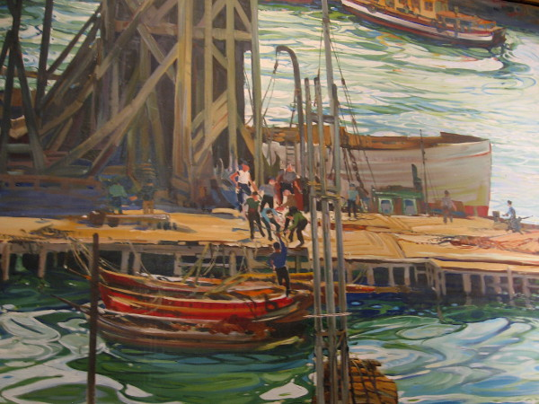 This part of the fantastic oil painting depicts a pier and activity on San Diego Bay.