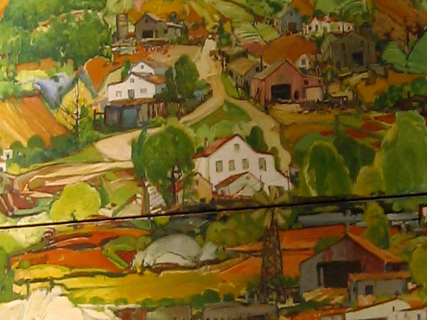 This part of the oil painting shows homes in the hills of San Diego.