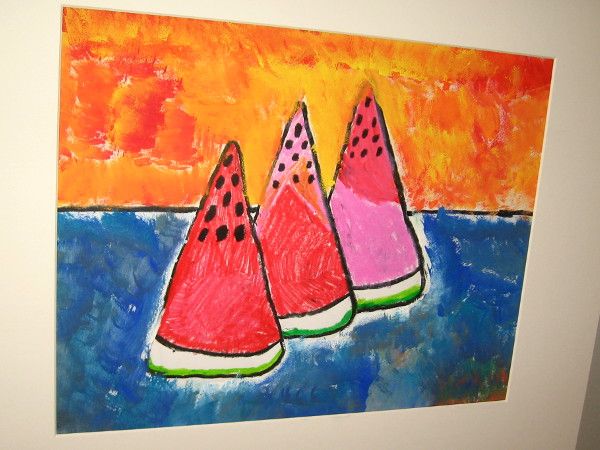 Senna Osawa, Tamayo Watermelon, mixed media, Second Grade, Kumeyaay Elementary.