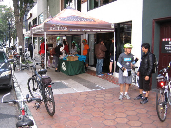 The Donut Bar had a Bike to Work Day pit stop in downtown San Diego. Many morning riders swung on by.