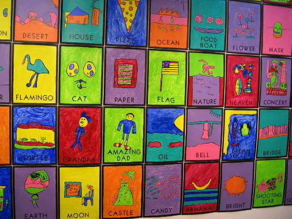 Each panel is a student's reinterpretation of a Loteria card. Loteria is a Mexican game of chance similar to bingo.