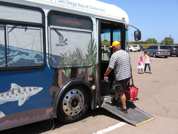 A short bus ride takes one from the parking lot near Interstate 5 through the protected Sweetwater Marsh to the kid-friendly education center.