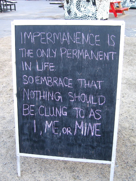 Impermanence is the only permanent in life. So embrace that nothing should be clung to as I, me, or mine.