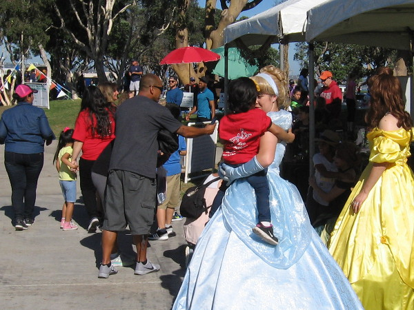 Some very young children were excited to be greeted by princesses!