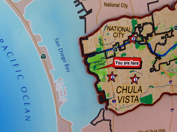 A map inside the nearby Living Coast Discovery Center show the location of the Sweetwater River and the marsh where it enters San Diego Bay.