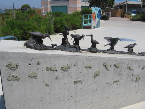 This amazing art showing marshland birds is just outside the entrance to the San Diego National Wildlife Refuge Complex headquarters.