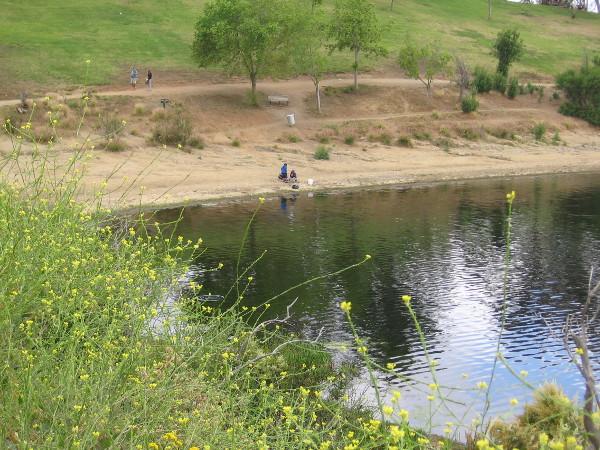 Some kids were fishing.