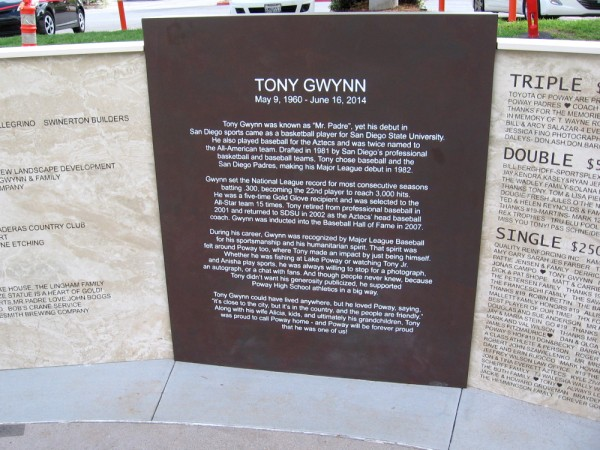 Plaque near the statue. Tony Gwynn was known as Mr. Padre. His humanitarian spirit was felt around Poway, the place he called home. His smile and laugh touched many around the world.