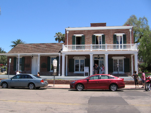 Photo of the 1857 Greek Revival-style Whaley House from across San Diego Avenue. The famous house is located in Old Town, the birthplace of San Diego.