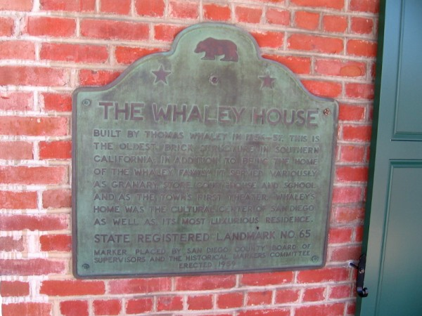 The Whaley house is the oldest brick building in Southern California. It served as home, granary, store, courthouse, school and theater. It was the most luxurious residence in early San Diego.