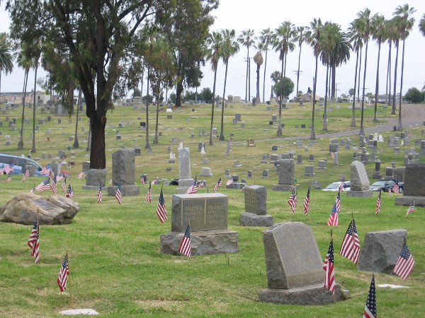 American flags decorate the graves of fallen soldiers.
