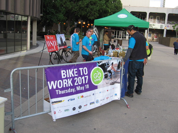 Another pit stop at Civic Center Plaza. The City of San Diego has a special program that encourages bicycling.
