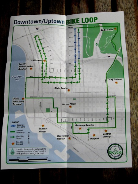 A map of the San Diego downtown and uptown bike loop. (Click image to enlarge.)